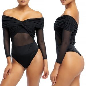 Off Shoulder Twist Mesh Front Bodysuit